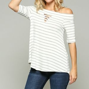 2/$45 NWT White & Gray Striped Off Shoulder Top